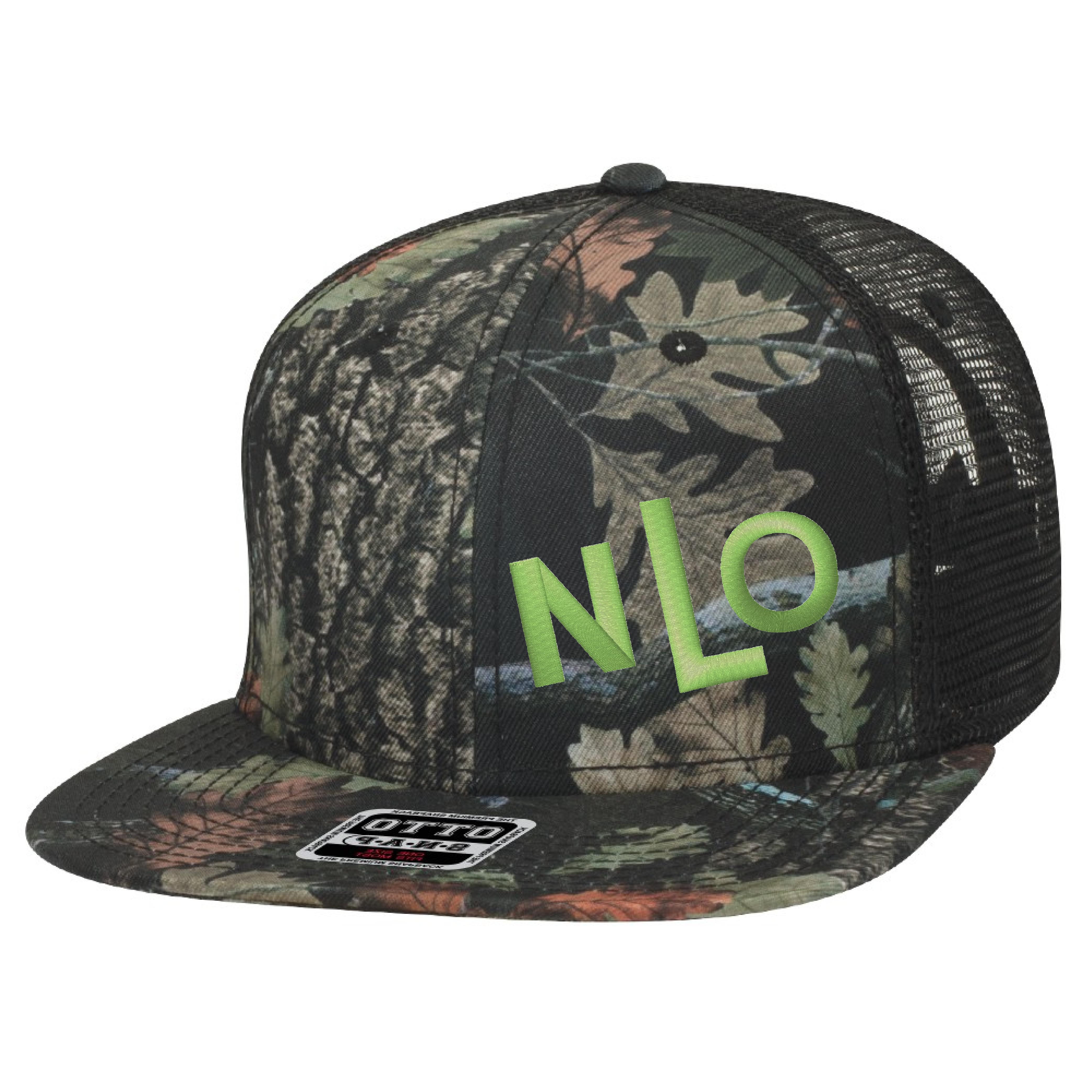 4030d784f NLO Camo Dark and Lime Green Snapback Trucker Hat