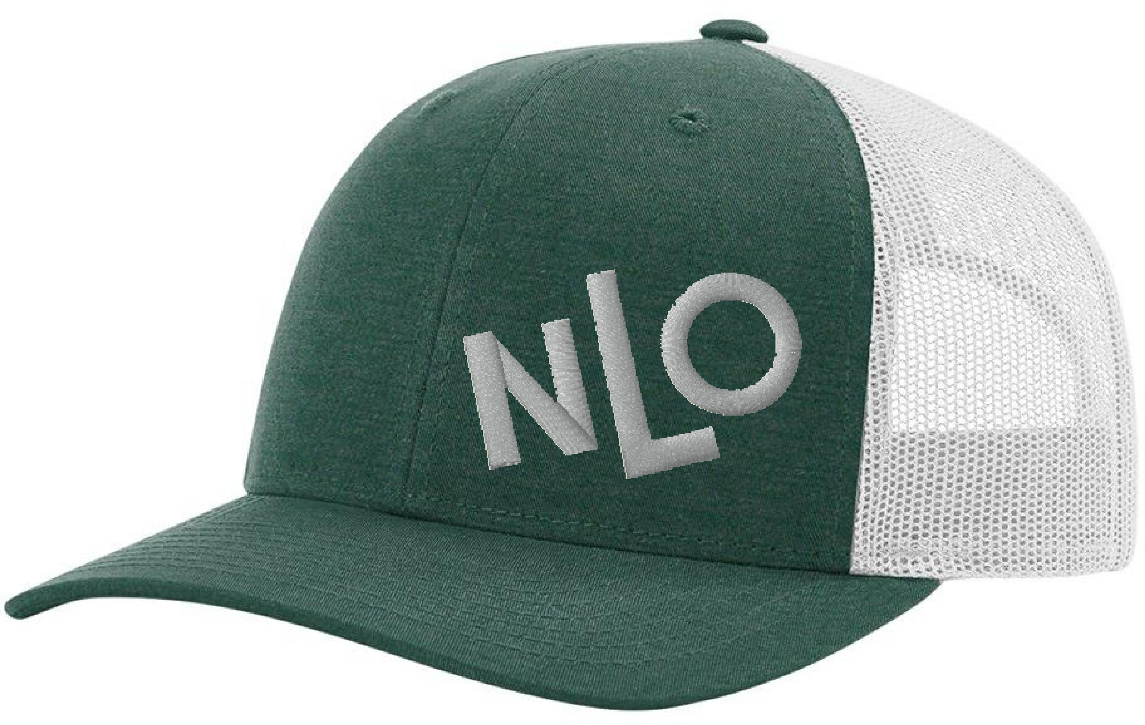 6eaf35e1 NLO Dark Green and Silver Snapback Trucker Hat | Never Let Off